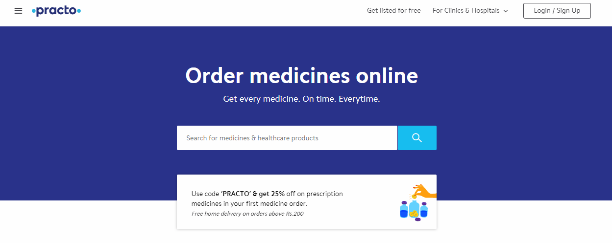 Practo Homepage