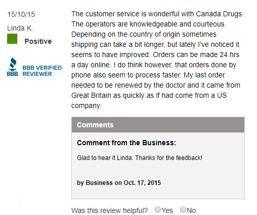 Prescriptions from Canada User Testimonial (source: https://www