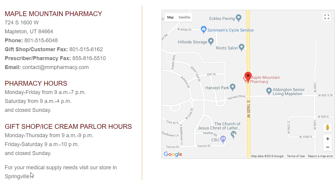 Maple Mountain Pharmacy Contact Page