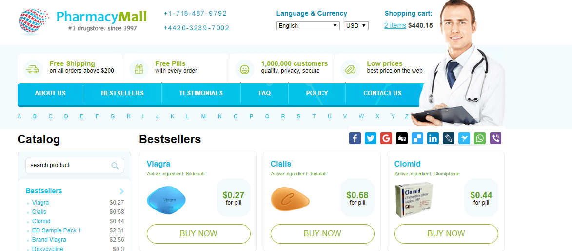 Pharmacy Mall, Ship to the USA Online Pharmacy